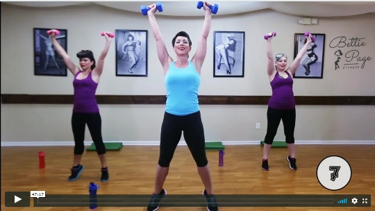 ~Tori and crew in the Bettie Page Fitness: Total Body Strength & Cardio video~