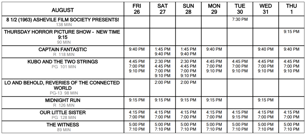 August 26 through September 1 Click for Schedule at a Glance
