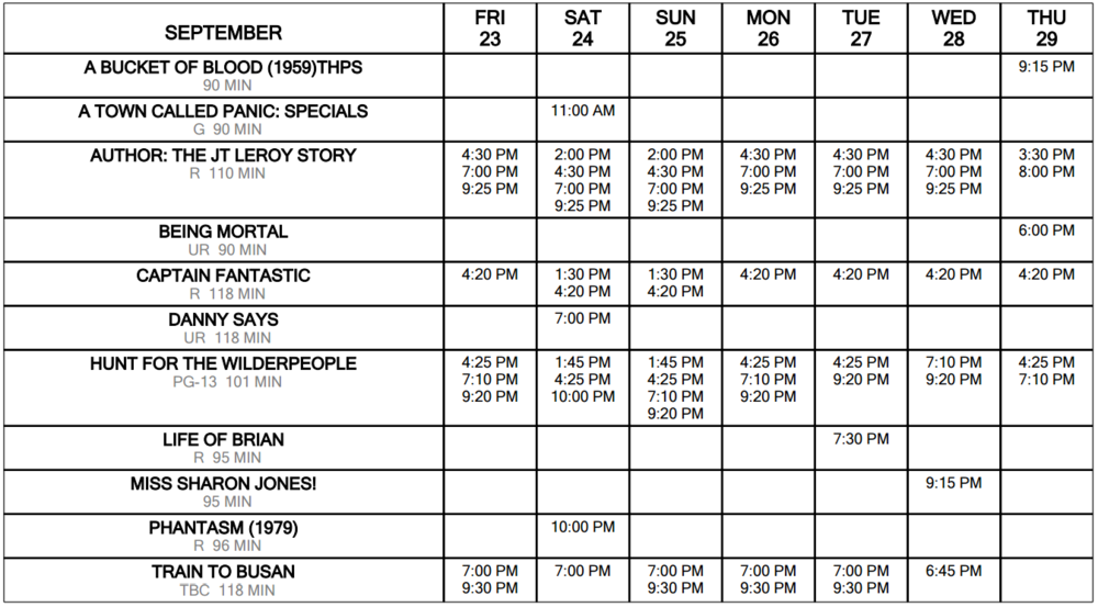 Click for Schedule at a Glance September 23 through 29