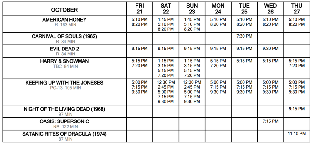 Click for Schedule at a Glance OctOBer 21 through 27