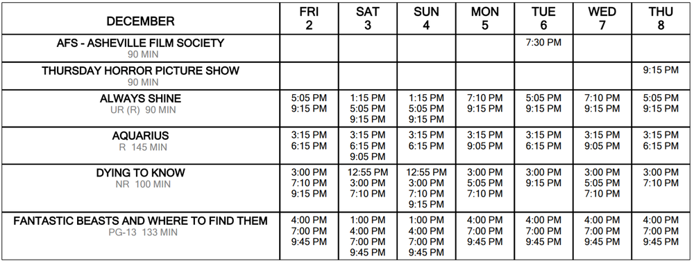 Click foR Schedule at a Glance December 2 through 8