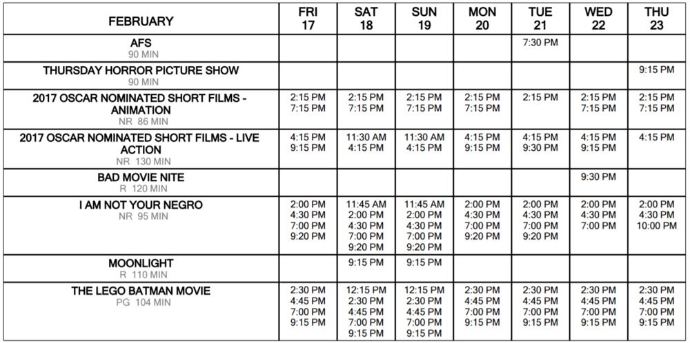 Schedule at a glance feb 17 through 23
