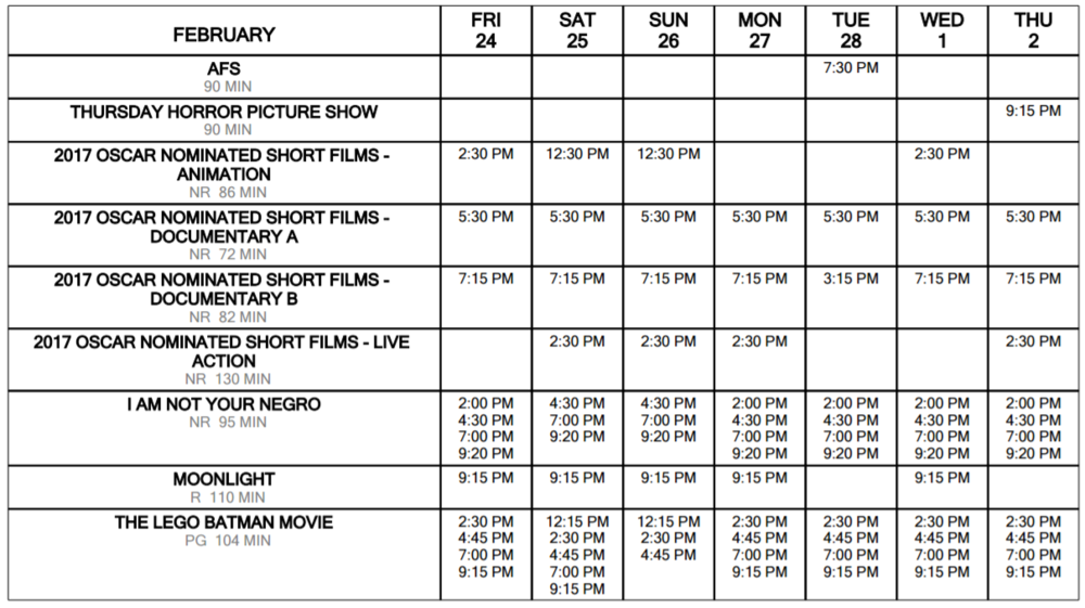 schedule at a glance Feb 24 through March 2