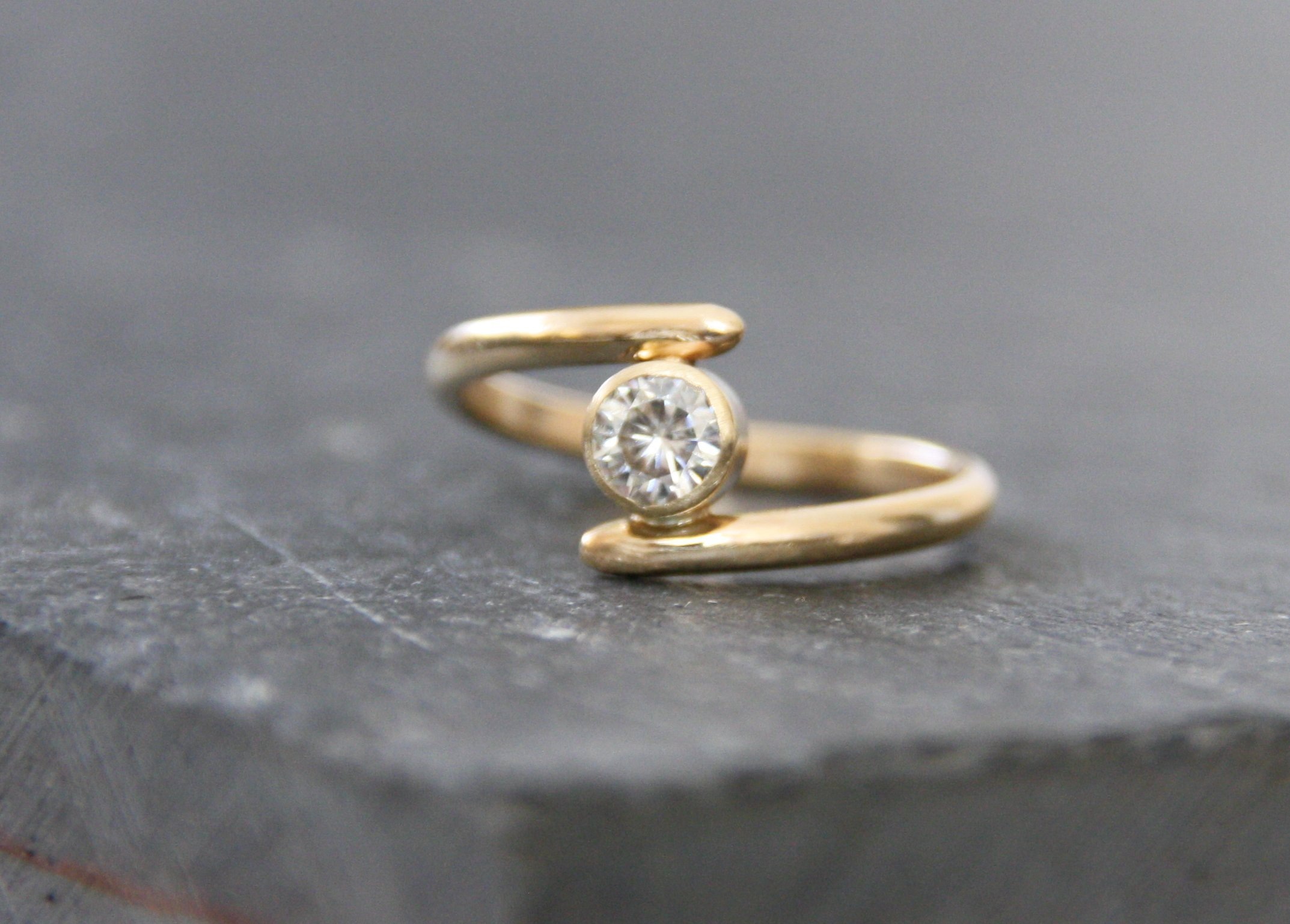 Moissanite and 14k gold