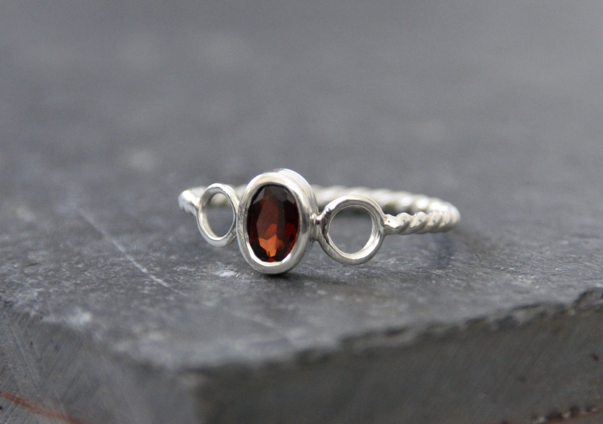 Garnet and sterling silver