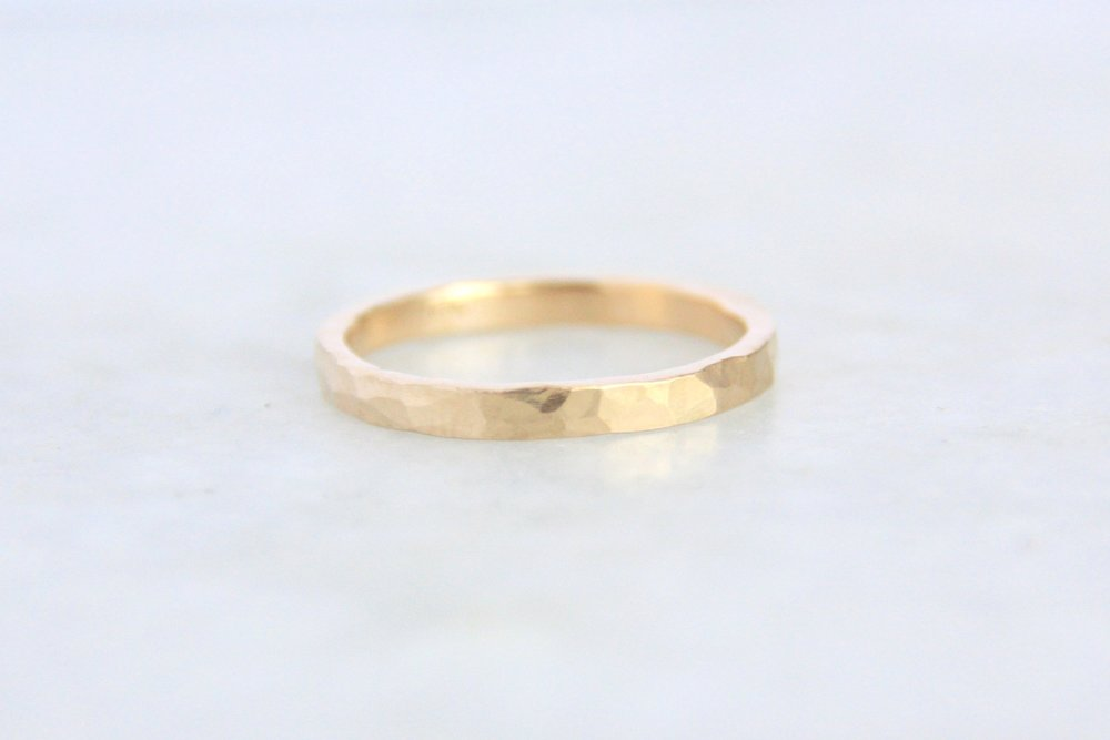 Hammered Yellow Gold Wedding Ring 2mm