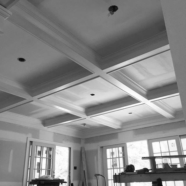 Coffered ceiling going in #peak3construction
