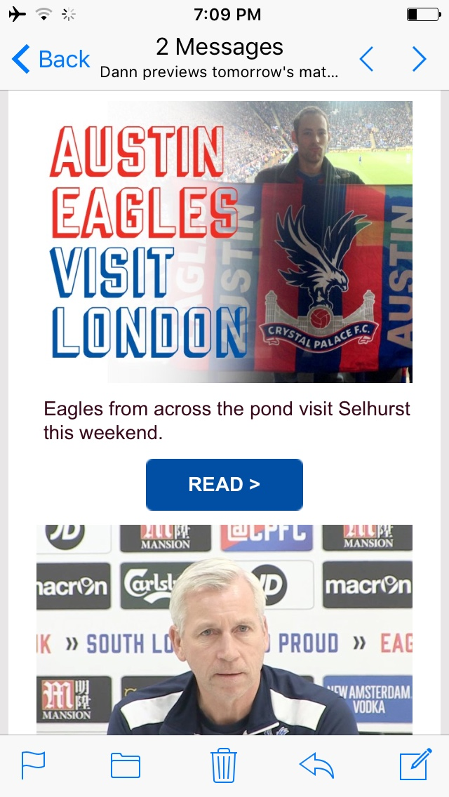 Austin Eagles featured in the weekly official Palace email newsletter