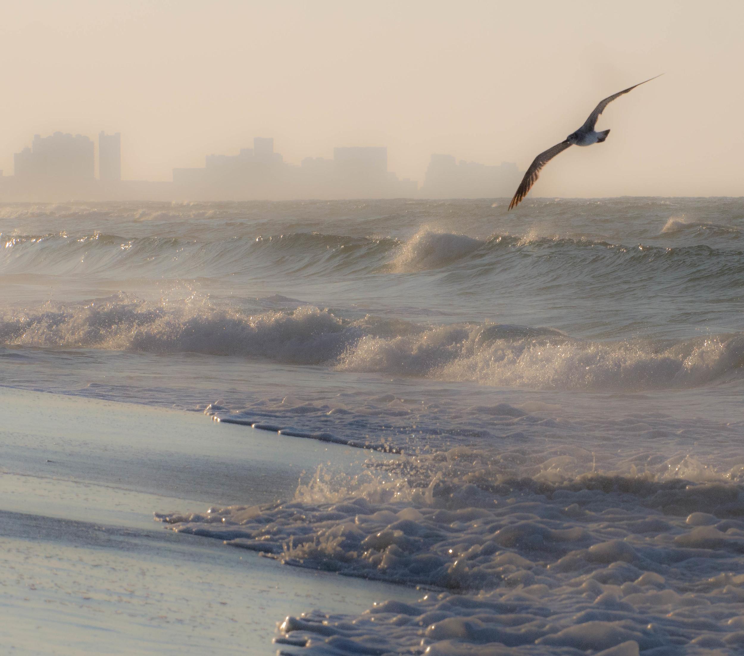 hazy ocean