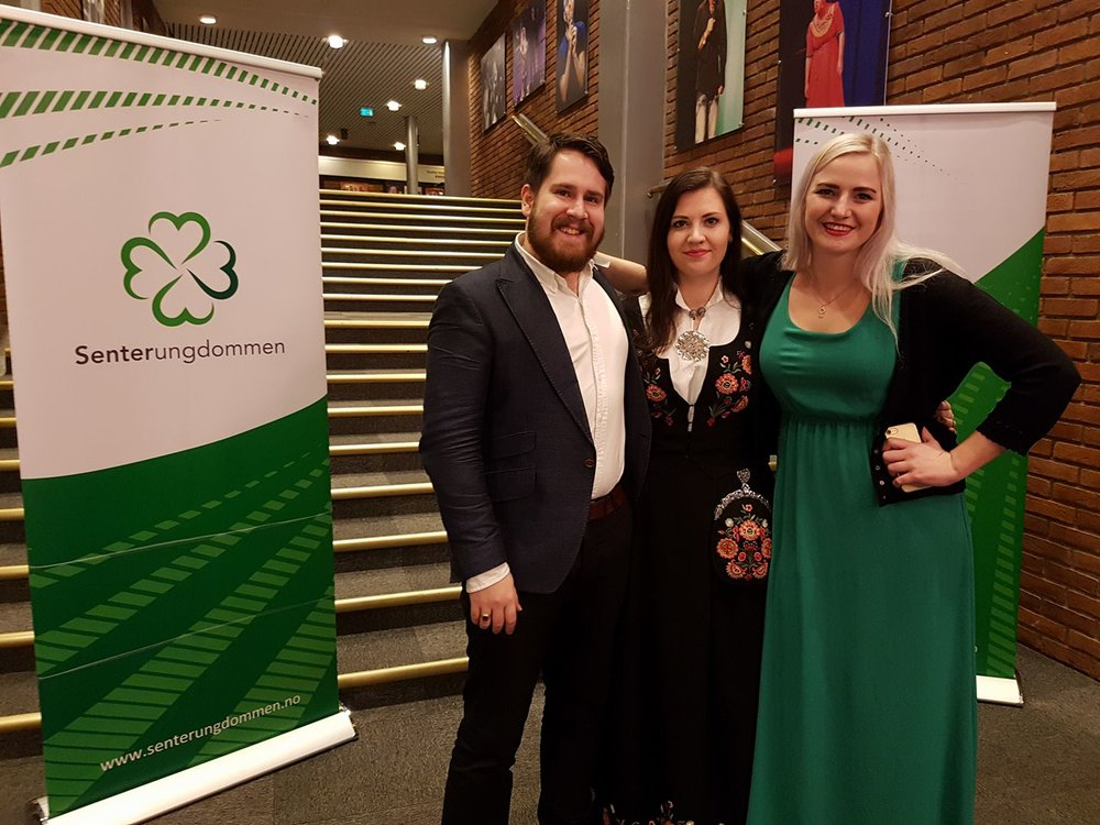 Victor Rundqvist together with the newly elected International Leader Rikke Håkstad and President Ada Arnstad being fancy at the Congress party.