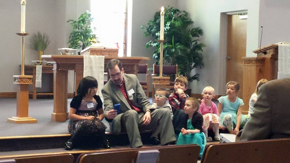 Pastor Mark gives a special kids sermon