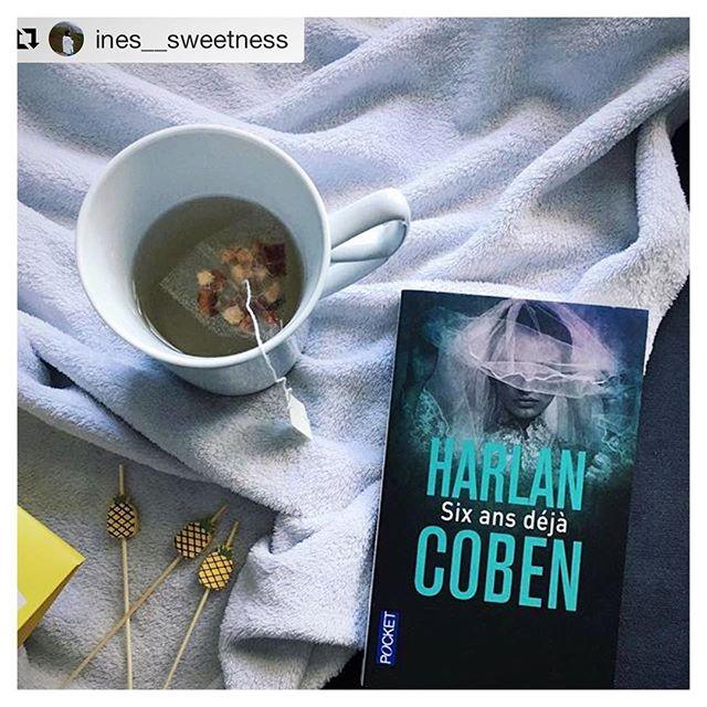 """#Repost @ines__sweetness ・・・ Une de mes amies m'a offert ce livre, un thriller d'Harlan Coben """"Six ans déjà"""" et le thé vanille/ananas de @charbrewtea est délicieux 📚 Bonne soirée 🍍 #inesbooks #book #harlancoben"""