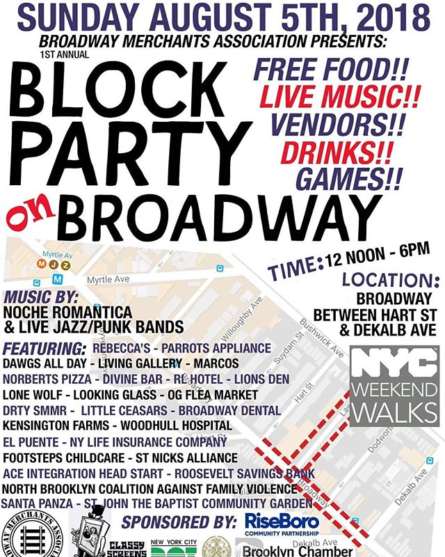 This Sunday!! Block Party!!! Of course also stop by the bar for some drinks and a/c 🍻  #brooklyn #bushwick #bedstuy #blockparty #nyc #thingstodoinnyc #sunday #beer #food #somanyhashtags