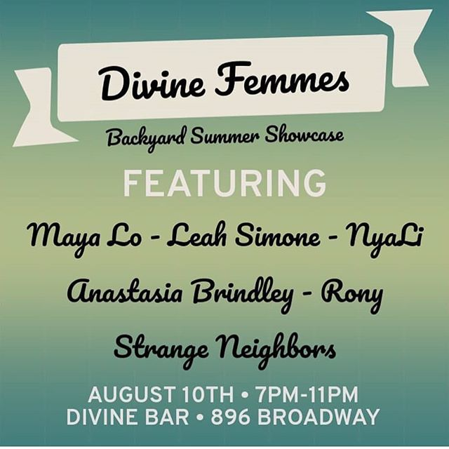 HOT DIGGITY DAWG we got a beautiful line up with some incredibly talented people. THIS FRIDAY!!! Free show!! No cover!!! Exclamation points!!! Featuring: @mayalomusic  @leahthelone  @nyalimusic  @anastasiabrindley  @rony.corcos  @strangeneighborsmusic hosted by our lovelies @ke.ma.is and @jenndeblah!!!! 🥂🍻 #brooklyn #fridaynightnyc #thingstodoinnyc #bushwick #livemusic #divinebar #hotdogs #backyard #newyork #nyc
