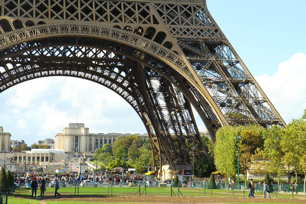 Du khách dưới chân tháp Eiffel