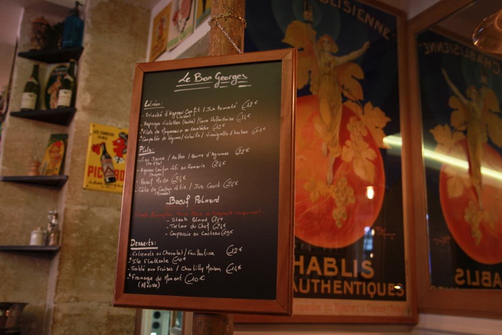 Le Bon Georges menu