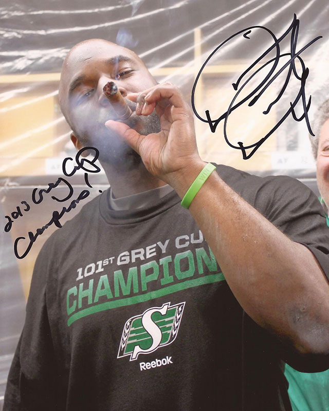 Autographed 2013 Grey Cup 8x10 Photo w/ '13 GC Champs 'inscription (signed in black ink) $45 + $5 shipping