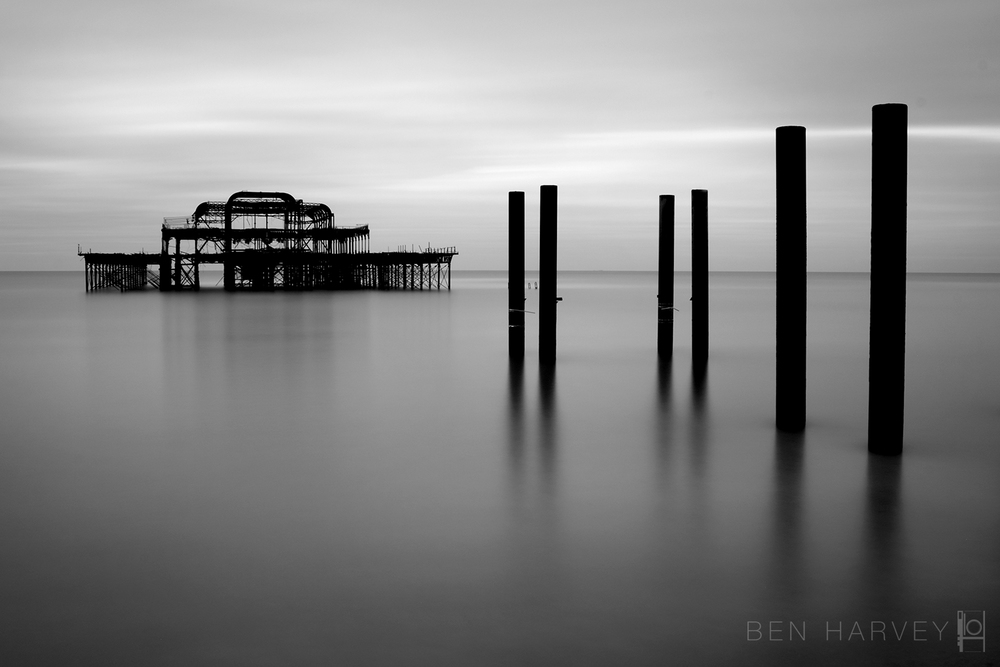 A sunrise long exposure of Brighton West Pier