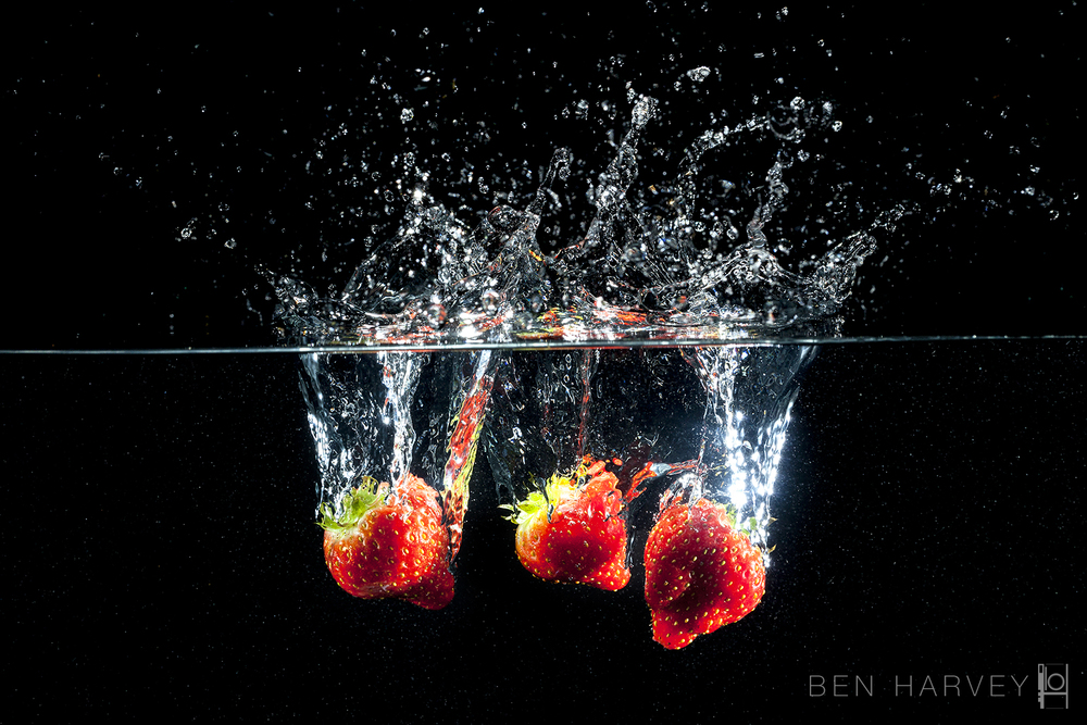 Objects dropping into a fish tank are a classic subject for high speed photography