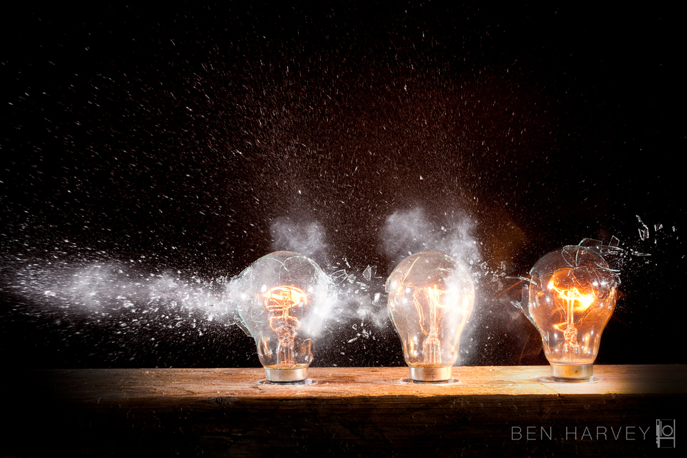 The moment a bullet passes through three light bulbs - all plugged into the mains