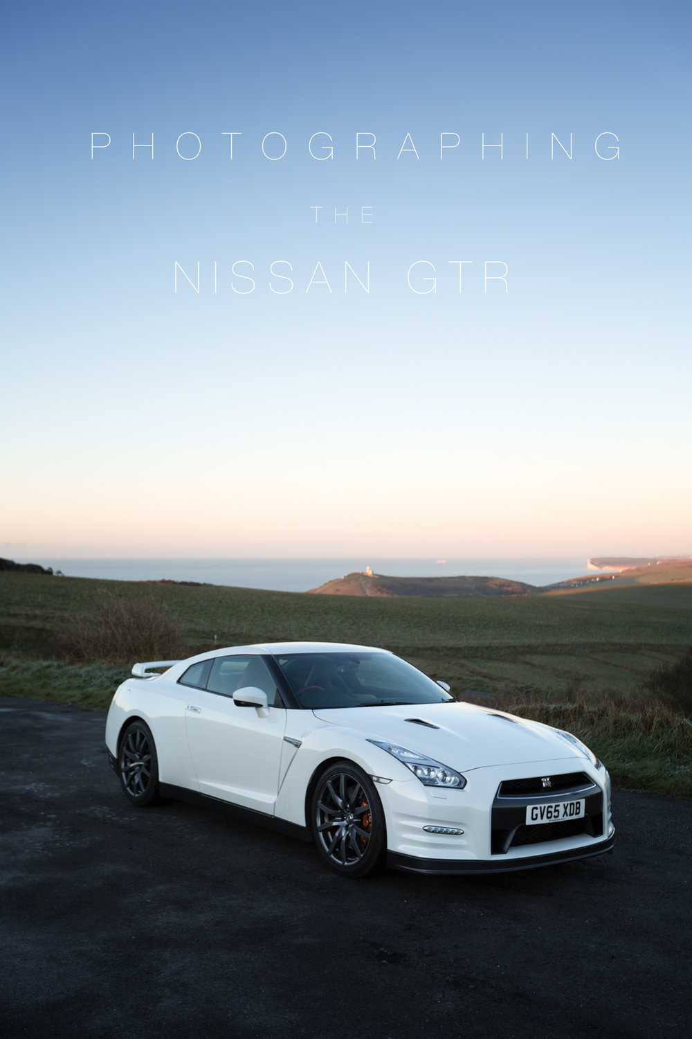 The GT-R with the seven sister's cliffs as a back drop, on an icy morning