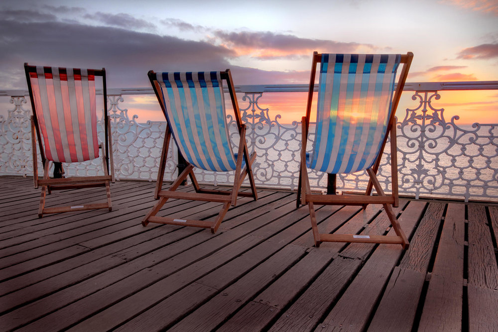 Deck chairs on Palace Pier