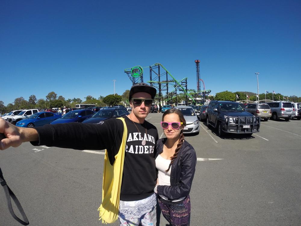 Chris & Chel at Gold Coast Warner Bros Movie World Theme Park