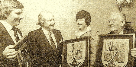 Left to right: David Long (amateur), Des Ryan (managing director of PJ Carroll & Co), Mary McKenna (Lady's award) and Fred Daly (Distinguished Services) pictured at the IGWA Awards dinner at Milltown GC in January 1980. The winner of the professional award, Des Smyth, was not present