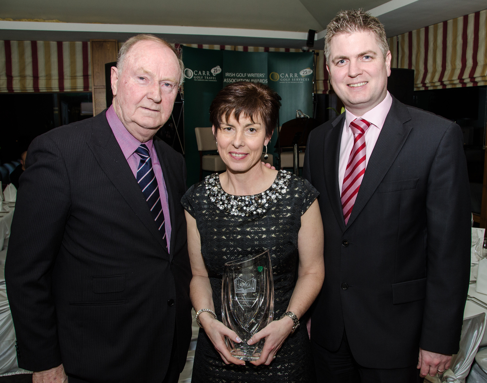 Breda Maguire  accepting the Womens Amateur of the Year Award on behalf of her daughter Leona Maguire Pic by Mel Maclaine.jpg