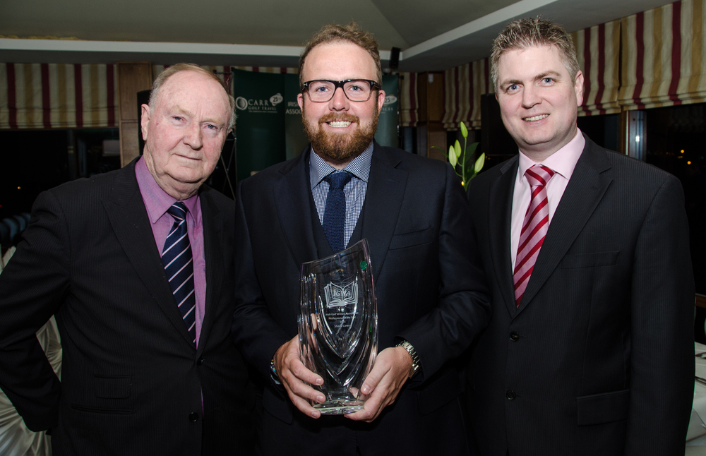Dermot Gilleece, Golf Writer, Chairman of the Irish Golf Writers' Association, Shane Lowry, Professional of the Year at the Irish Golf Writers' Association Awards Dinner with Ed Pettit, Managing Director of Carr Golf. Pic by Mel M.jpg