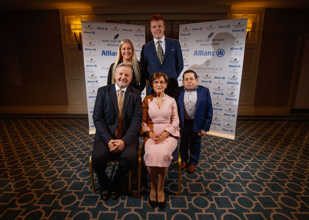 "2018 Allianz Irish Golf Writers' Association Awards, Portmarnock Hotel and Golf Links, Dublin 13/12/2018. Damian O'Neill, (Allianz), Sara Byrne (Women's Amateur of the Year), Robin Dawson, (Men's Amateur Golfer of the Year), Miriam Hand who received the Distinguished Services to golf award in honour of her work with the ""Play in Pink"" breast cancer charity and Paul Kelly, Chairman of the Irish Golf Writers Association. Mandatory Credit ©INPHO/Oisin Keniry"