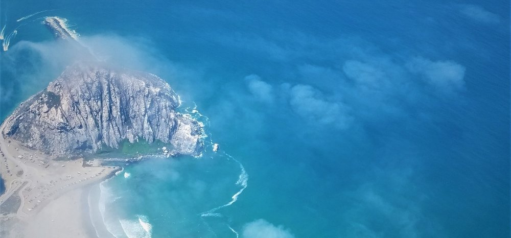 Morro rock as seen on a scenic flight out of san luis obispo