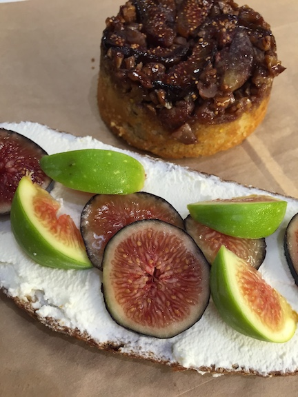 Two great breakfast choices: Our fig upside down cake and fig and walnut toast.
