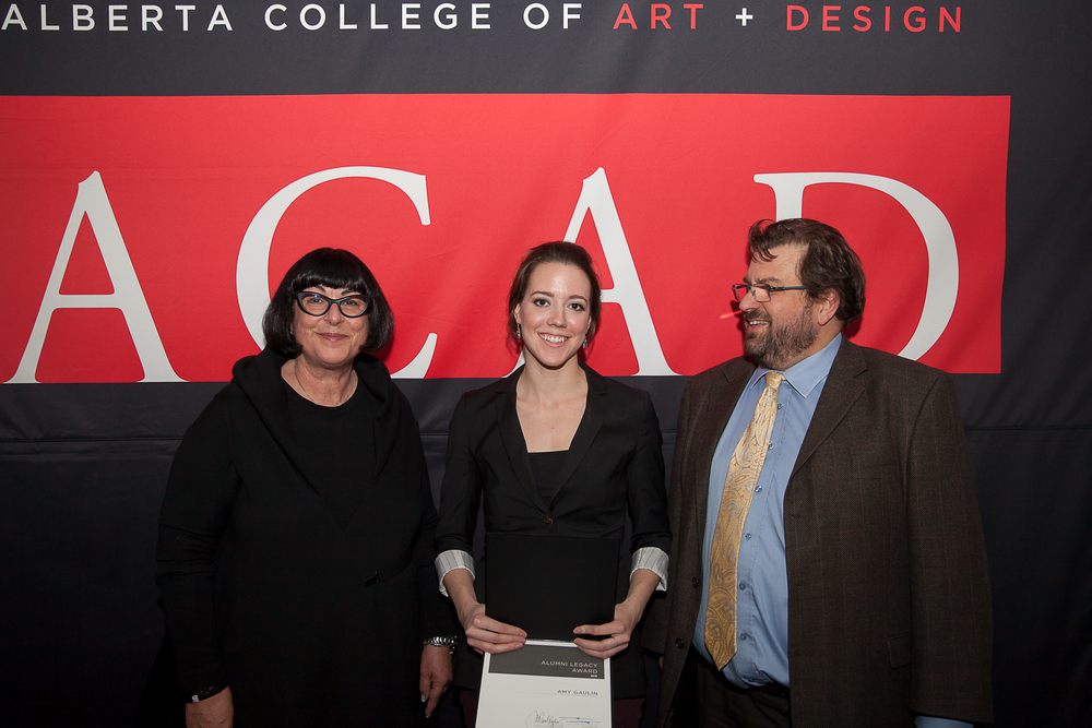 Amy Gaulin pictured with M Carol Ryder, Board of Governors (left), and Dr. Daniel Doz, CEO & President of ACAD (right) receiving the 2015 ACAD Alumni Legacy Award. Photo by Andy Nichols.