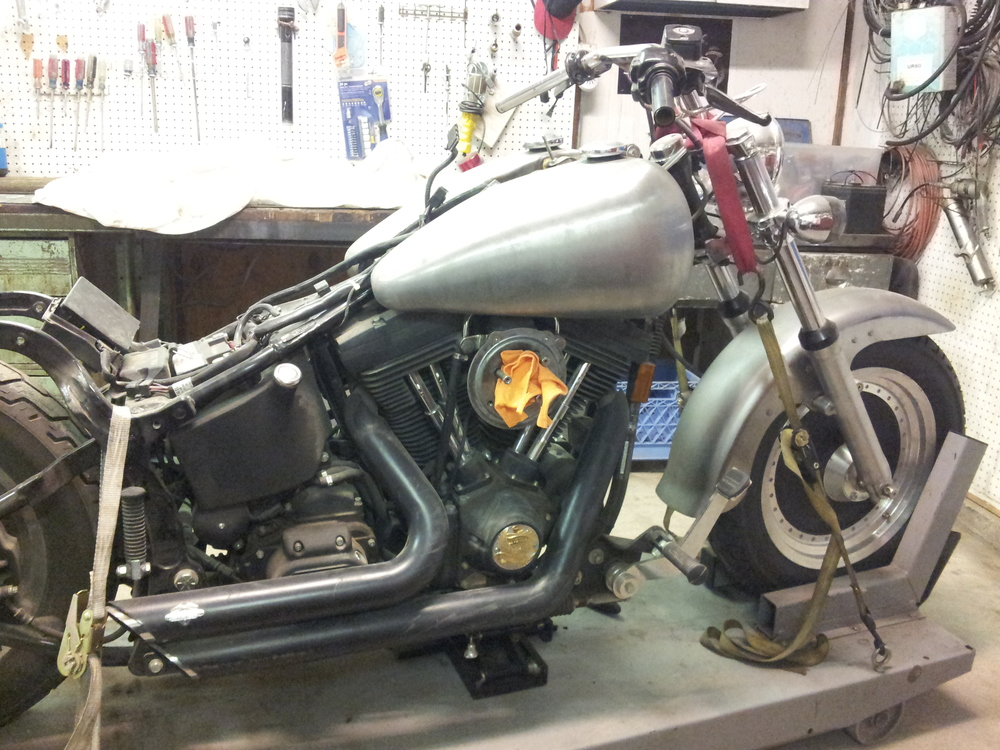 The mototrcycle used is a 1999 Harley Davidson FXSTB