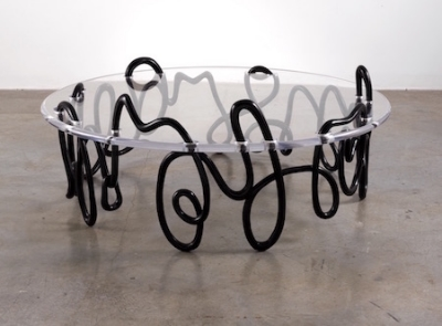 Mattia Bonetti,   Meander Coffee Table  , 2009, patinated bronze and clear acrylic top, 23 x 57 x 57 inches / 58.4 x 144.8 x 144.8 cm., Edition of 20. Artwork   ©   Mattia Bonetti, courtesy of the artist and Paul Kasmin Gallery.