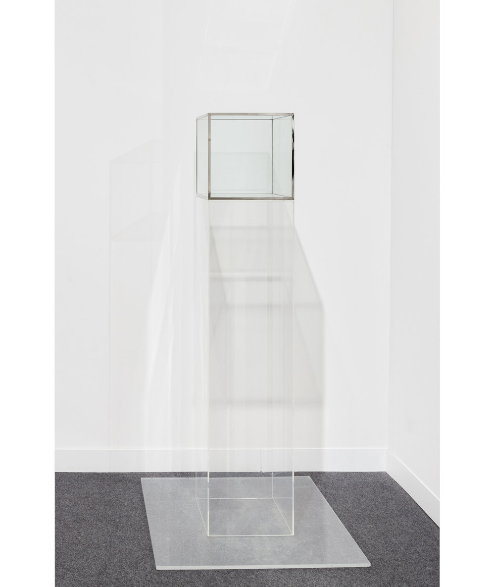 Larry Bell   Untitled , c. 1968 Glass cube with metal seams cube: 12 x 12 x 12 inches (30.5 x 30.5 x 30.5 cm) pedestal: 48 x 12 x 12 inches (122 x 30.5 x 30.5 cm)