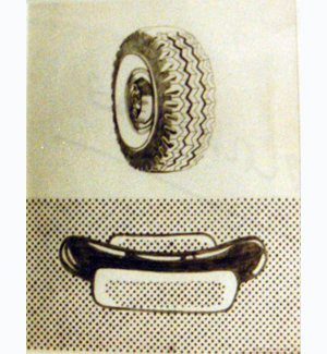 Elaine Sturtevant  Lichtenstein Tire, Hot Dog , 1965 graphite and ink on paper 17 x 14 inches (43.18 x 35.56 cm)