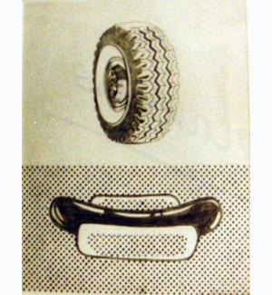 Elaine Sturtevant  Lichtenstein Tire, Hot Dog , 1965 graphite and ink on paper 17 x 14 inches (43.1 x 35.5 cm)
