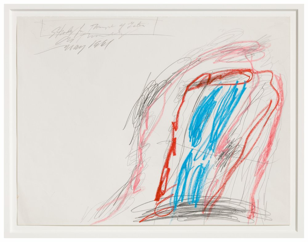 Cy Twombly   Study for the Triumph of Galatea,  1996 wax crayon, pencil 10 7/10 x 13 9/10 in (27.18 x 35.31 cm)
