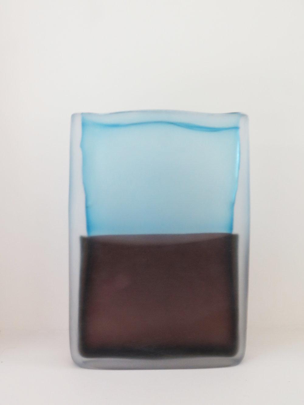 Laura de Santillana  Tokyo-Ga (Sky Blue - Warm Brown) , 2018 hand blown compressed shaped glass 12 1/5 x 8 2/3 x 1 1/2 in (31 x 22 x 4 cm)