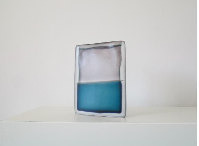 Laura de Santillana  Tokyo-Ga (Violet Grey - Blue Green) , 2018 hand blown compressed shaped glass 11 3/8 x 8 5/8 x 1 5/8 inches (29 x 22 x 4.3 cm)