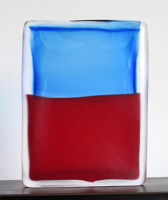 Laura de Santillana  Tokyo-Ga (Blue Aqua - Red) , 2017 hand blown compressed shaped glass 11 3/8 x 8 5/8 x 1 3/4 inches (29 x 22 x 4.5 cm)