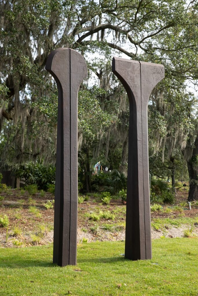 Beverly Pepper   Split Ritual II,  1996 two cast ductile iron columns Height: 168 inches (427 cm)
