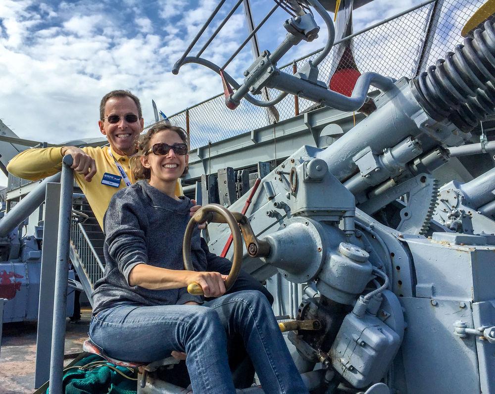 Jen & Me on Quad 40mm Bofors Anti-Aircraft Gun