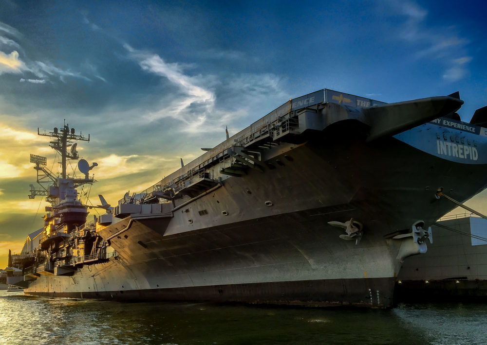 USS Intrepid at Sunset
