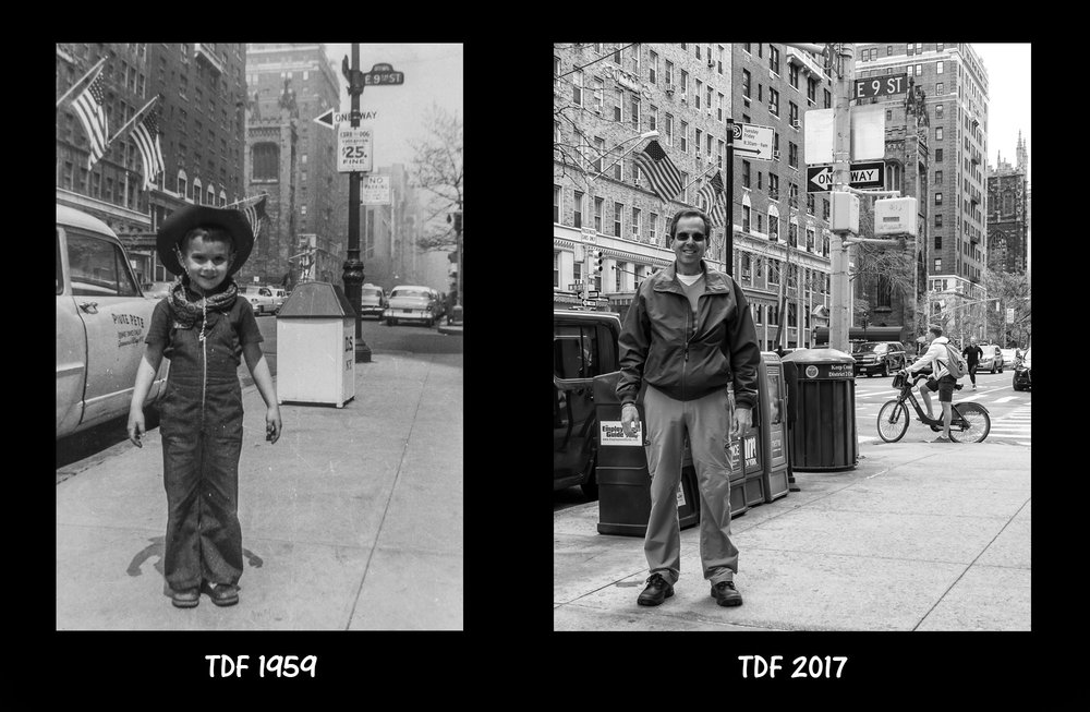Here I am in my cowboy outfit on Fifth Avenue in NYC at 6 years of age. And here I am at the exact same spot 58 years later! Notice that Fifth Avenue was two ways back then.