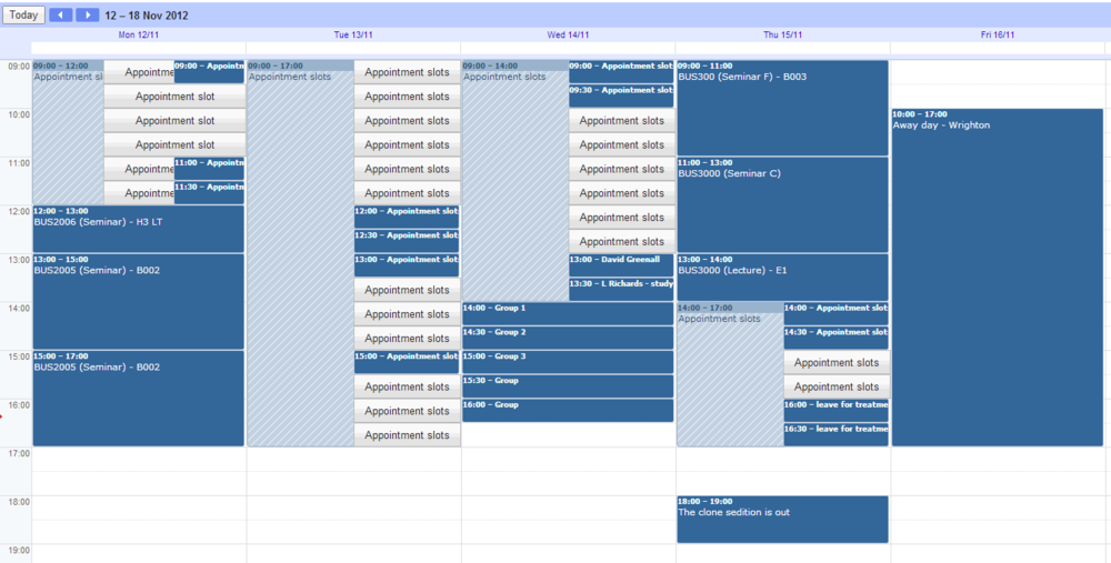 My full diary, students cannot see my other appointments.