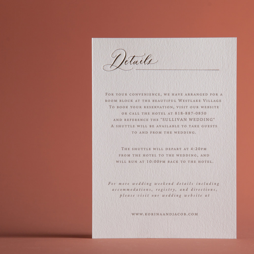 CLASSIC ROSE ACCOMMODATIONS & DETAILS CARD — P A P E L & CO.