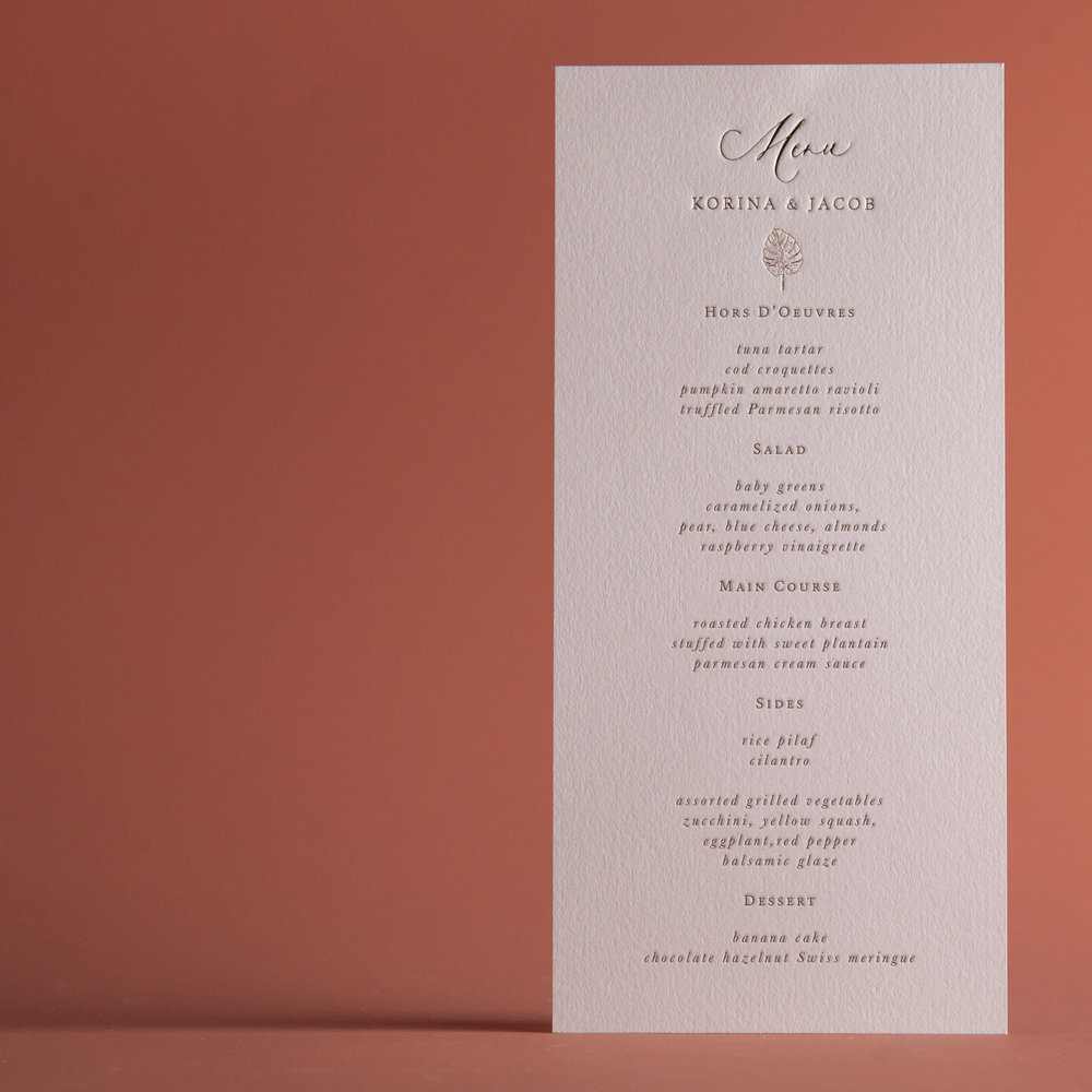 CLASSIC TROPICAL MENU CARD — P A P E L & CO.